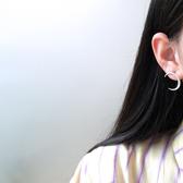 不對稱 鑲鑽 月亮 星星 光芒 甜美 耳環【DD1907015】 ENTER  09/12