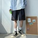 條紋短褲男潮流夏季外穿休閑中褲寬松直筒五分褲子ins痞帥沙灘褲