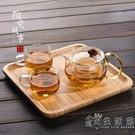 茶盤家用日式實木小型創意茶具配件圓形木質竹托盤ins北歐擺件 WD小時光生活館