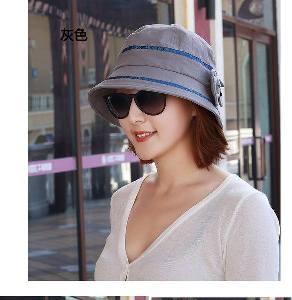帽女春秋韓版盆帽女漁夫帽休閒百搭畫家帽時尚媽媽帽時裝帽可折疊