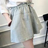 夏季新款韓版棉麻格子短褲女潮寬鬆大碼學生闊腿裙褲休閒熱褲   莉卡嚴選