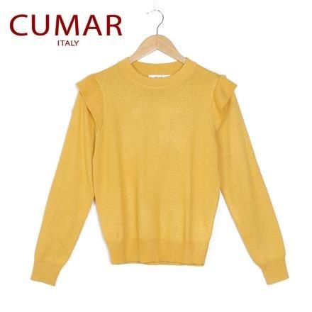 【南紡購物中心】【CUMAR】素色造型袖針織上衣-黃