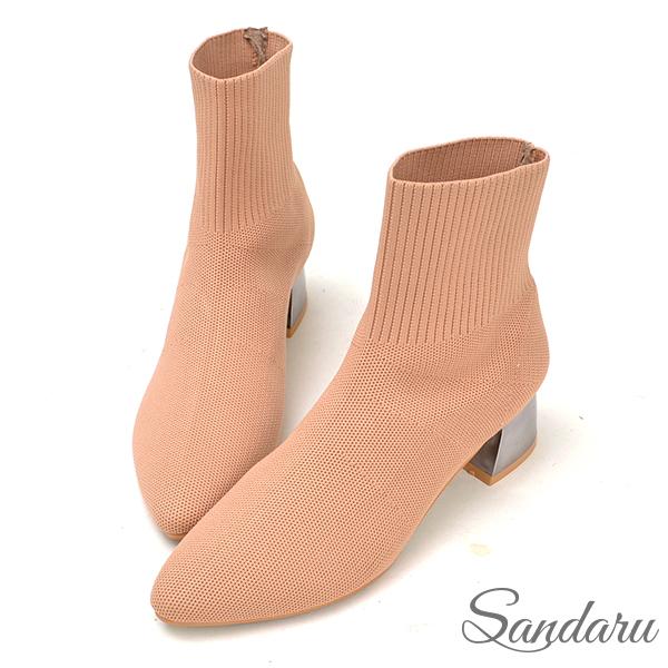 訂製鞋 韓版金屬跟針織尖頭襪靴-艾莉莎ALISA【107A8806】米色下單區