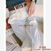 白色闊腿褲女春秋高腰垂感直筒長褲季薄款顯瘦西裝褲子【CH伊諾】