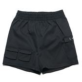 NIKE 運動褲 短褲 黑 立體銀勾 口袋 抽繩 休閒 NSW SWOOSH 女 (布魯克林) CZ9382-010
