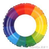泳圈 奇彩貝兒童/成人彩虹圖案 游泳圈 加厚型 彩虹圈 莫妮卡小屋