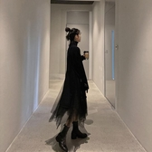 針織毛衣搭配網紗連身裙子兩件套裝氣質女【聚可愛】