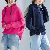 純色慵懶風毛衣女秋冬新款溫暖寬鬆顯瘦長袖加厚套頭連帽針織線衣 折扣好價