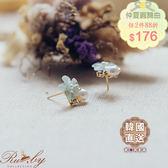耳環 韓國直送‧珍珠水鑽花朵耳環-藍綠色-Ruby s 露比午茶