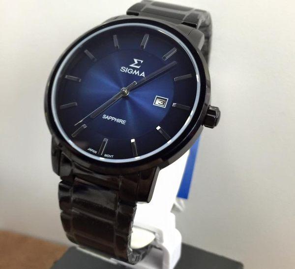 【名人鐘錶・實體店面】SIGMA 黑藍大三針黑鋼男錶x40mm藍・藍寶石水晶鏡面・1122M-B3