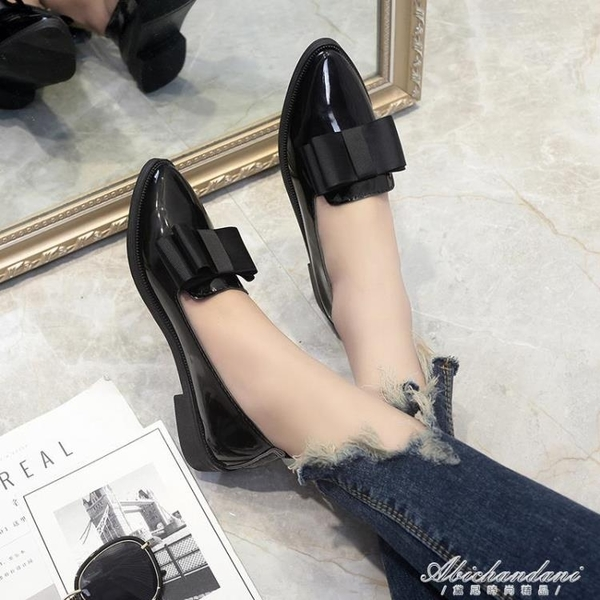 英倫風平底單鞋樂福鞋漆皮上班黑色工作鞋職業小皮鞋女秋 黛尼時尚精品