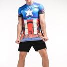 FINDSENSE MD 日系 時尚 男 藍紅星星標誌 高彈力 緊身運動短T 訓
