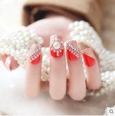 美甲用品  成品拆卸亮片堆鑽裸色假指甲貼片