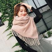 圍巾-仿羊絨加長款針織毛線雙面女披肩6色73ub4[巴黎精品]