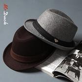 秋冬帽子男潮英倫紳士爵士帽大頭圍帽子休閒氈帽羊毛呢捲邊禮帽男 錢夫人小鋪