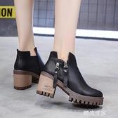 粗高跟女皮鞋雙拉鏈百搭時裝鞋純色2020秋冬新款及裸靴短筒靴舒適『潮流世家』