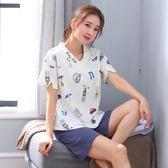 睡衣女夏短袖純棉春季新款韓版女生可外穿韓版卡通休閒居家服套裝   LannaS