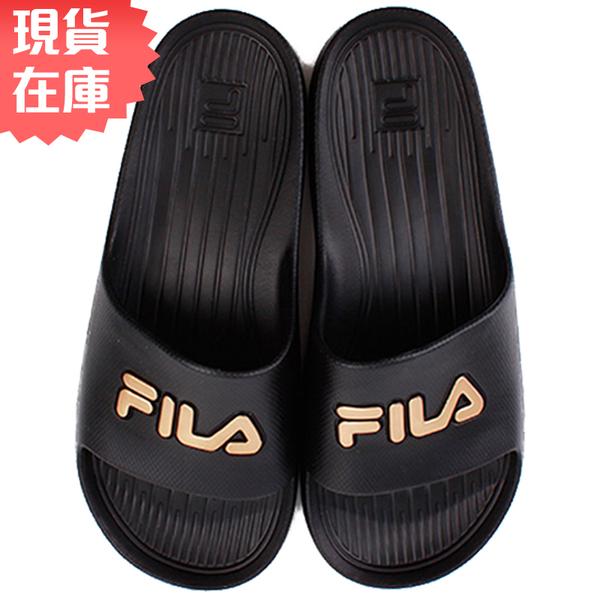【現貨在庫】 FILA 男鞋 女鞋 拖鞋 休閒 防水 黑 金【運動世界】4-S355T-009
