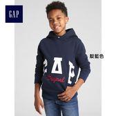 Gap男童 Logo徽標套頭連帽長袖休閒上衣 367078-靛藍色