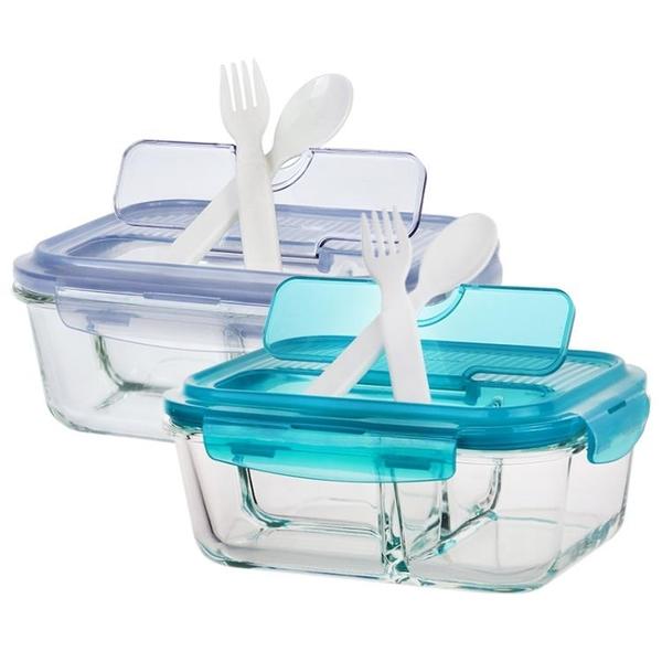 樂扣樂扣玻璃飯盒旗艦店便當盒分隔型保鮮盒微波爐分格上班族餐盒  【端午節特惠】