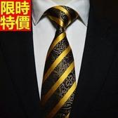 桑蠶絲領帶 男配件-黑色條紋奢華大氣正裝商務手打領帶66ae12【巴黎精品】