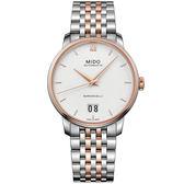 【僾瑪精品】MIDO 美度 BARONCELLI 永恆系列 III 大日期機械錶-銀x玫瑰金/M0274262201800