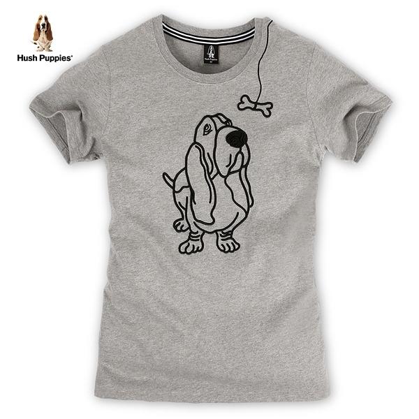 Hush Puppies T恤 女裝立體刺繡線條狗短袖T恤