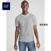 Gap男裝 條紋圓領短袖口袋T恤 306528-溫和黑色