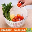 家用沙拉脫水器甩干機洗菜盆蔬菜水果手動創...