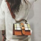 側背包-格紋皮帶裝飾斜背包-8111- ...