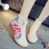 中國風原創鏤空牡丹刺繡繡花布鞋歐根紗透氣涼靴涼鞋女 週年慶降價