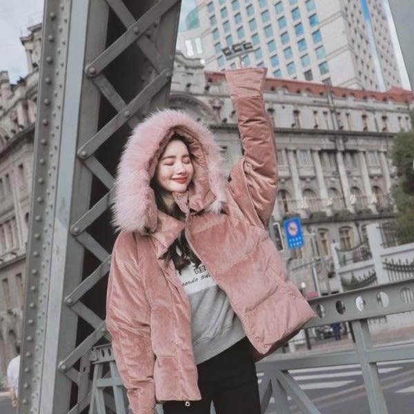 梨卡★現貨 - 新年粉色系韓國甜美加厚大毛領中長版連帽絲絨保暖禦寒鋪棉風衣外套大衣A475