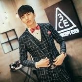 西裝套裝含西裝外套+西裝褲(三件套)-韓版紳士大方格商務男西服73hc102【時尚巴黎】