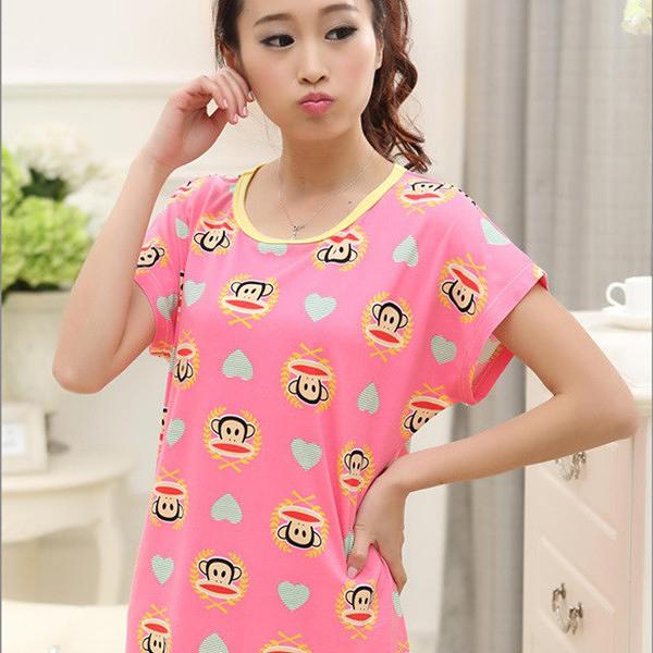 夢幻小猴 棉質短袖一件式睡衣  居家服