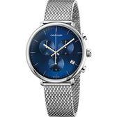 【即將漲價】Calvin Klein CK High Noon 計時手錶-藍x銀/43mm K8M2712N