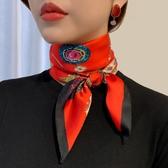 絲巾小方巾紅色絲巾女秋冬款時尚韓國領巾百搭洋氣裝飾薄款小長條圍脖 嬡孕哺