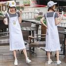 韓國夏季新款學生百搭寬鬆顯瘦過膝牛仔背帶洋裝長裙女學院風潮 依凡卡時尚