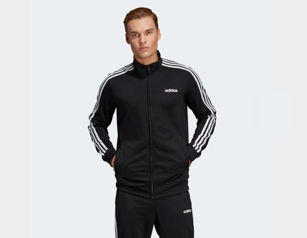 Adidas ESSENTIALS 3-STRIPES TRICOT TRACK JACKET 男款黑色運動外套-NO.DQ3070