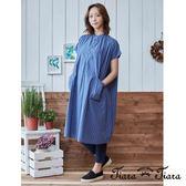 【Tiara Tiara】直紋短袖寬版洋裝(藍/黃)