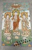 唐卡掛畫絲綢金絲織錦刺繡西方三圣佛像 客廳佛堂裝
