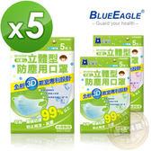 【藍鷹牌】藍色寶貝熊 台灣製 6-10歲兒童立體防塵口罩 5片*5包