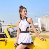 泳衣女性感裙式韓國女平角小胸聚攏學生小清新lh473【123休閒館】