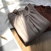 長袖T恤-百褶韓版復古優雅喇叭袖女上衣3色73rg20【巴黎精品】