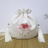 刺繡包原創復古中國風包包漢服繡花手機包袋側背斜背包彼岸花文藝帆布包聖誕交換禮物