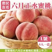 【果農直配】六月正水蜜桃X1盒【2.5斤±10%/盒(含盒重) 每盒8粒】7/1陸續出貨