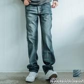 【OBIYUAN】彈性牛仔褲 鬼洗 電繡圖騰 直筒單寧長褲 共1色【P5077】