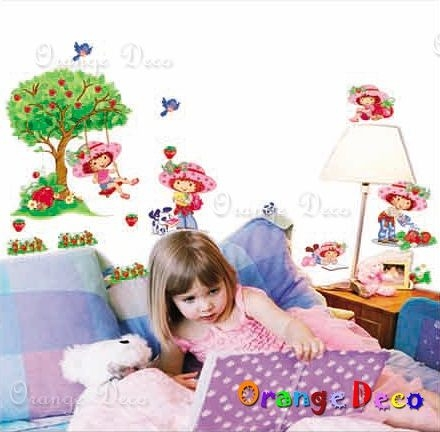 壁貼【橘果設計】草莓女孩 DIY組合壁貼/牆貼/壁紙/客廳臥室浴室幼稚園室內設計裝潢