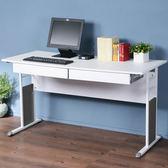 Homelike 辦公桌-仿馬鞍皮140cm(附抽屜*2)桌面:白/桌腳:白/飾板:灰
