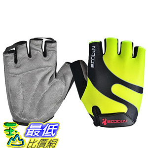 [106美國直購] 手套 BOODUN Cycling Gloves with Shock-absorbing Foam Pad Breathable Fluorescent Green