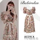 夏季新款法式小眾復古輕熟溫柔風洋裝子碎花氣質系帶收腰顯瘦女 小艾新品